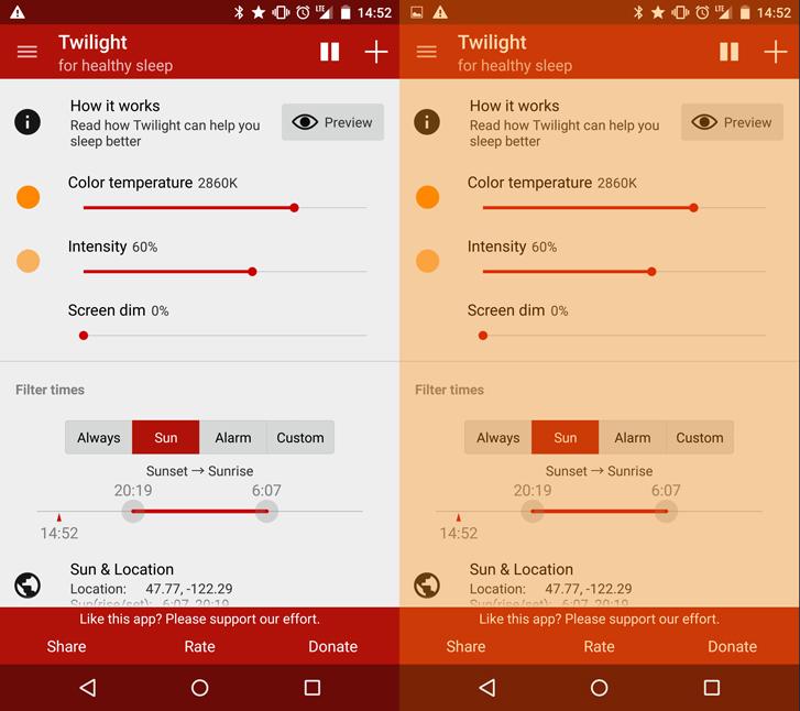 Aplikacija Twilight ponuja veliko nastavitev; profile si zato lahko ustvarite tako, da vam najbolj ustrezajo. Vir: CyberGuy.com