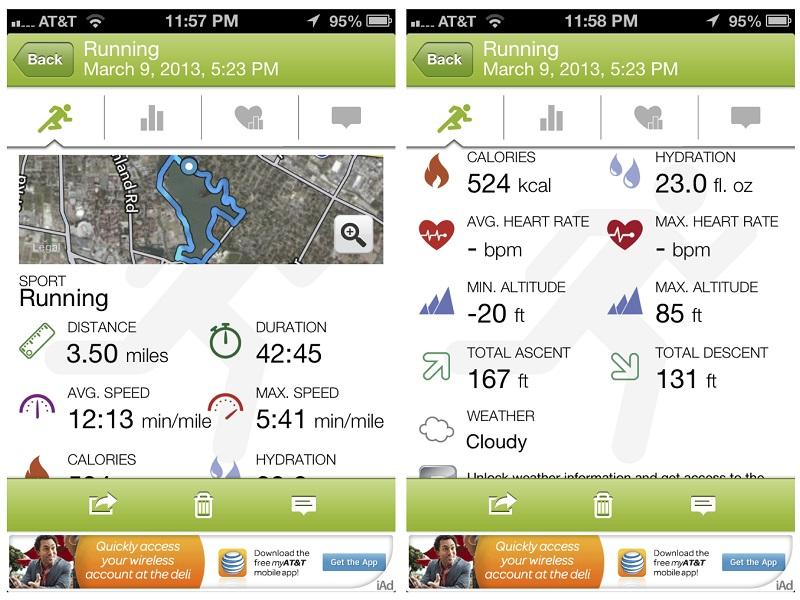 Po končani vadbi imate v aplikaciji na voljo ogromno podatkov, ki jih je vaš telefon meril med samo vadbo.
