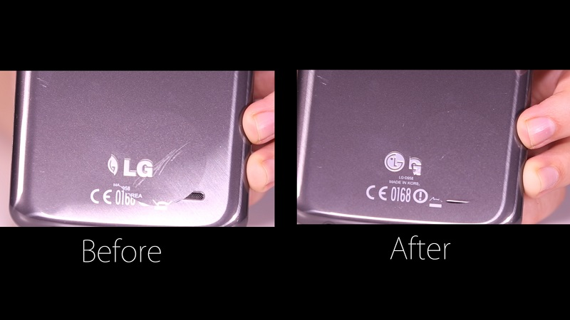 Telefon LG G Flex je imel zadnjo stran iz materiala, ki je lahko sam zacelil manjše praske. Vir: CyberShack