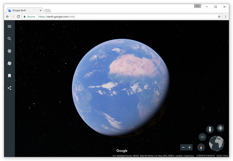 Najnovejša verzija Google Zemlje je zaenkrat še izredno enostavna za uporabo in privlačna na pogled.