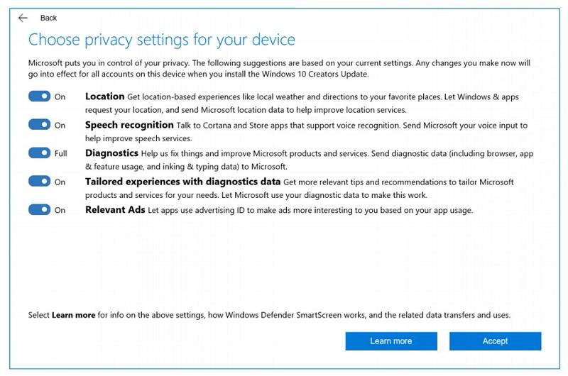 Nova posodobitev bo prinesla nekaj več nadzora nad tem, kaj delimo z Microsoftom. Vir: TheVerge